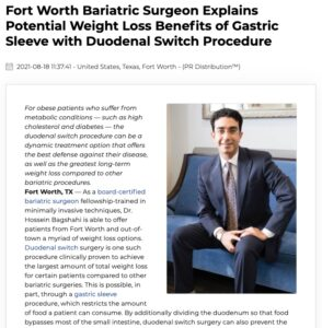 Dr. Hossein Bagshahi Offers Gastric Sleeve Plus Duodenal Switch at Fort Worth Practice